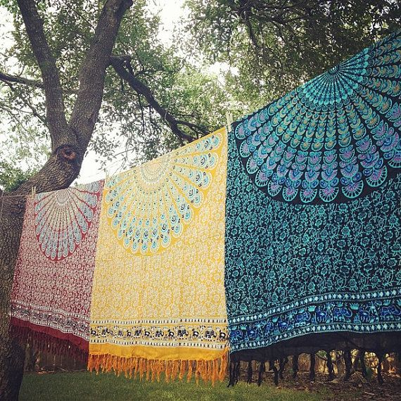 Boho Tapestry Fabric - Ancient Mandala Pattern on Etsy, $20.00
