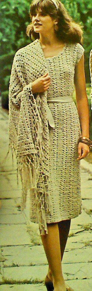 Vintage Crochet Dress with Matching Triangular by MAMASPATTERNS, $3.50