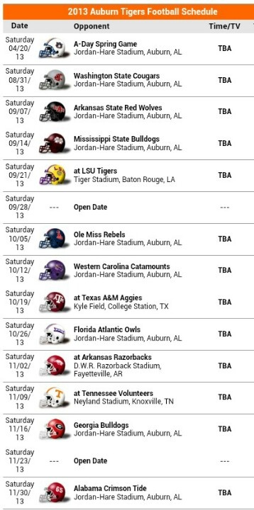 2013 Auburn Tigers schedule - I can't wait! How lucky can I get? The Coug's vs Tiger's for the opener? Ummmm....which way to go :P