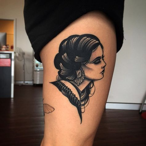 Blackwork Lady Tattoo by Pari Corbitt