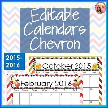 Editable Calendars 2015-2016 Chevron $ #backtoschool #teaching