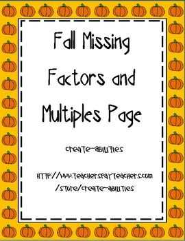 80 best free tpt math 3rd 5th images on pinterest teaching ideas fall themed missing factors and multiples page free fandeluxe Images