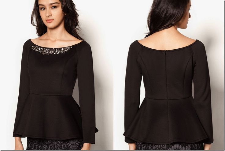 embellished peplum top with wide boatneck