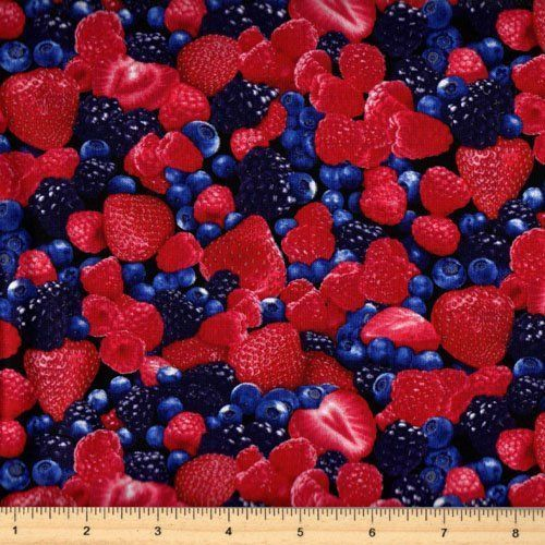 Berry Good Fresh Blueberries Blue Berries Cotton Fabric Fat Quarter