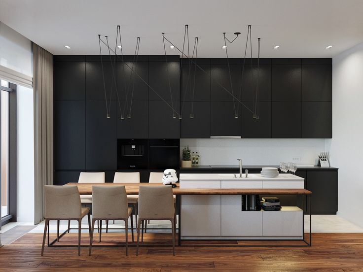 Black panelled cabinetry magnetised hanging lights kitchen
