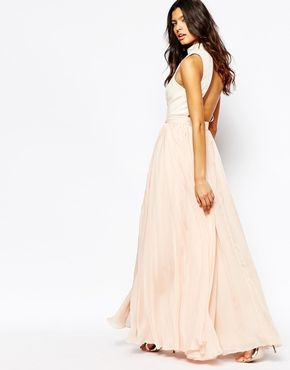 Fame And Partners Downtown Queen Full Prom Maxi Dress With High Neck