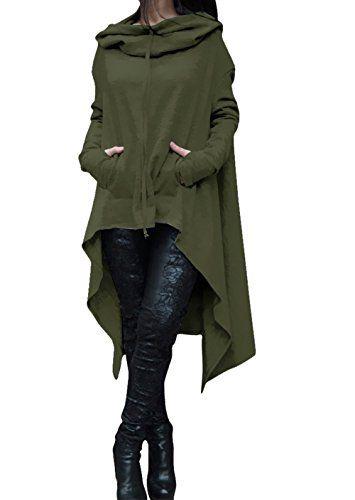 Womens Irregular Hem Double Slit Loose Long Sleeve Hooded...