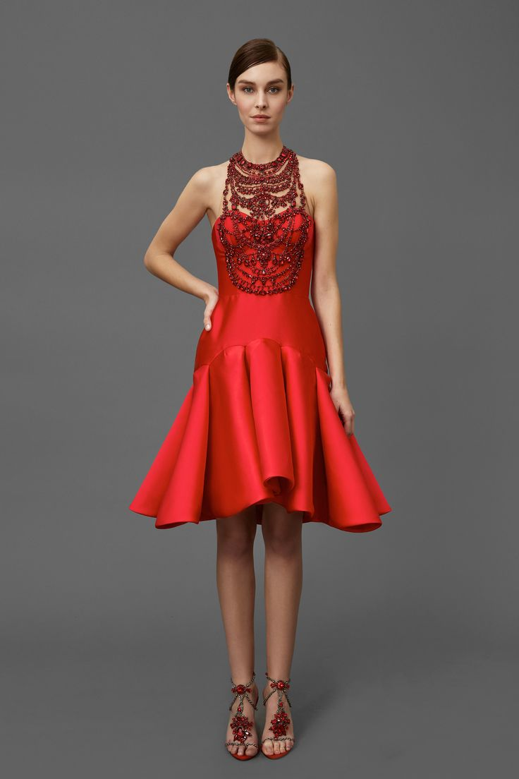 Ready for a party in this Beautiful Red Dress - Marchesa Pre-Fall 2016 Collection Photos - Vogue