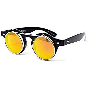 32342a49388c Black Frame Gold Lenses Flip Up Circle Premium Quality Steampunk Glasses  Goggles Retro Female Male Round Rave Gothic Vintage Rustic Rivet Victorian  Punk ...