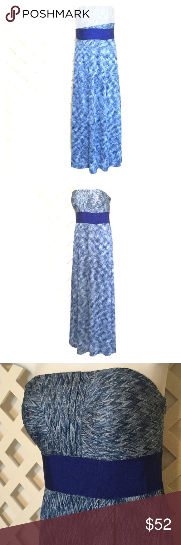 """Antonio Melani Blue Chevron Strapless Maxi Dress Lined. Strapless. Side zipper. Bust has light padding. Length approximately 47"""" in back. Back bust area seam to seam 15"""". Waist seam to seam 14"""". Polyester. Dry clean. ANTONIO MELANI Dresses Maxi"""