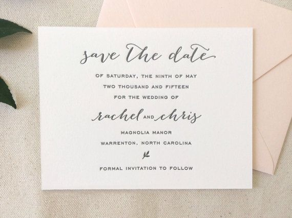 Letterpress save the dates in calligraphy