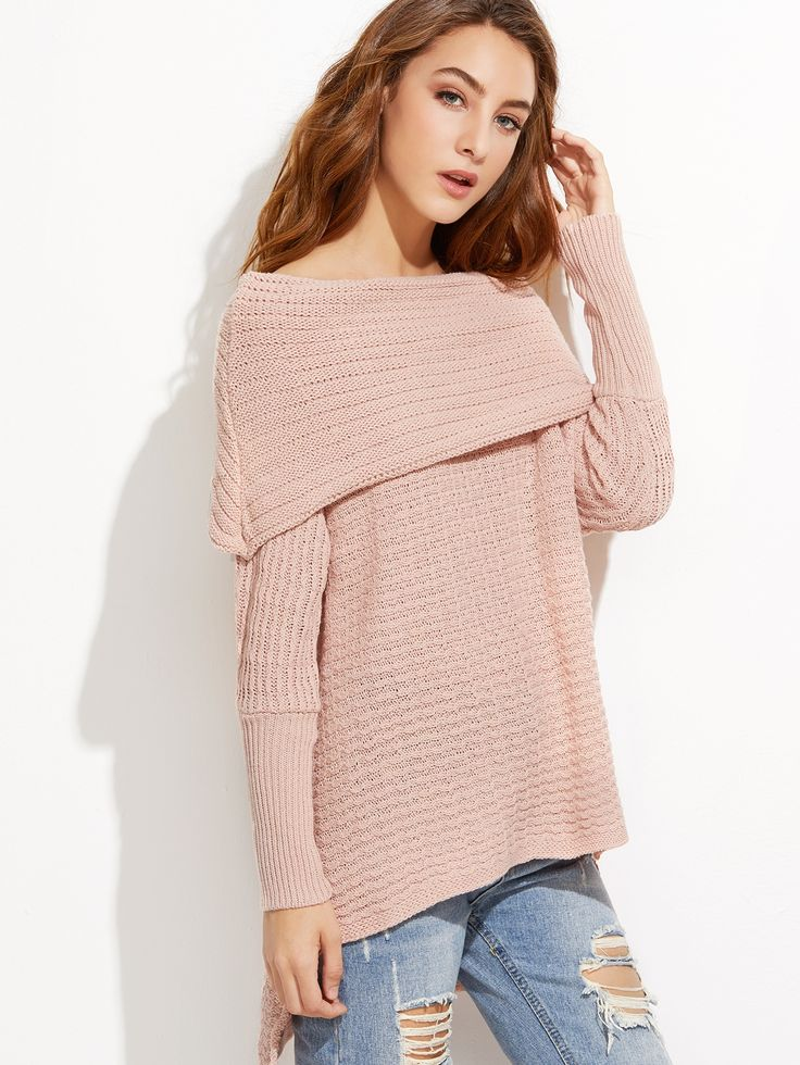 30$  Watch here - http://dimfo.justgood.pw/go.php?t=8613 - Pink Off The Shoulder High Low Foldover Sweater 30$