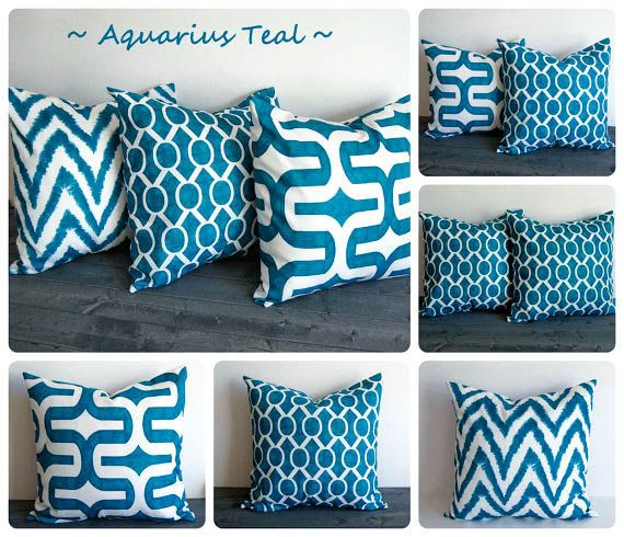 "These would be a great second accent pillow set   Teal pillow cover 22"" x 22"" One cushion cover Aquarius Teal blue green throw pillow sham"