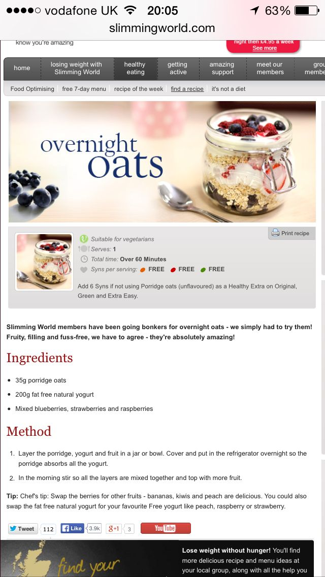 30 best overnight oats slimming world images on Slimming world recipes for 1 person