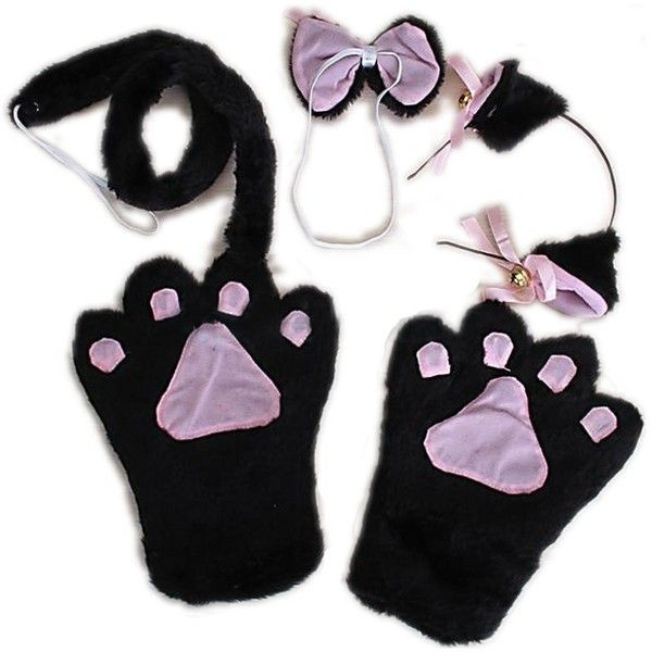 Black Cat Cosplay Anime Fancy Costume Paw Ear Headband Tail Tie Gloves ($3.18) ❤ liked on Polyvore featuring accessories, gloves, dressy gloves, fancy gloves and animal gloves