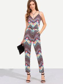 Summer Trendy Bright Jumpsuit Multicolor Print Spaghetti Strap Pockets Jumpsuit