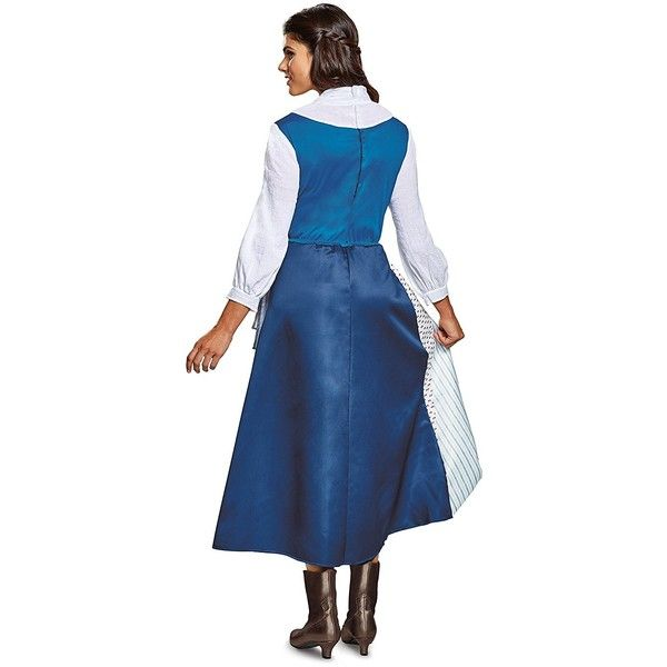 Disney Women's Belle Village Dress Deluxe Adult Costume, Multi, Medium ($79) ❤ liked on Polyvore featuring costumes, adult belle costume, lady halloween costumes, ladies halloween costumes, blue belle costume and belle halloween costume