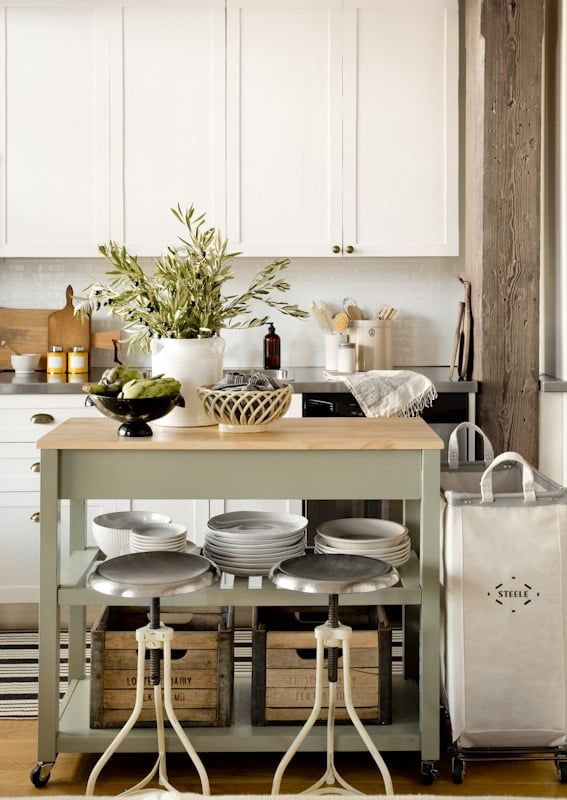 small kitchen island on wheels, industrial stools