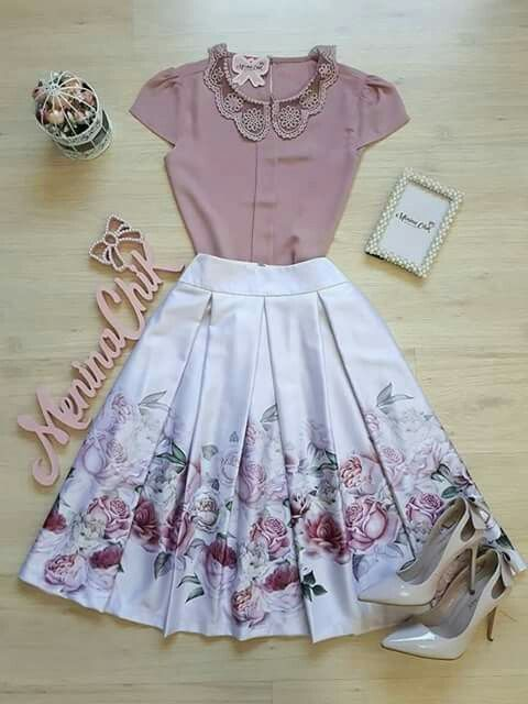 Inverted Pleat Floral Skirt with Classic Cap-Sleeve Blouse