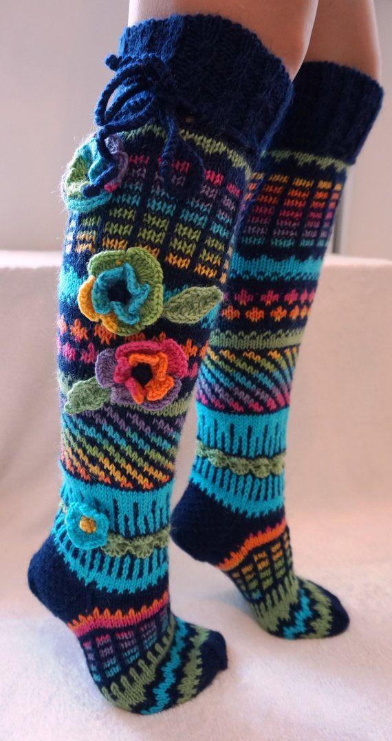 Chaussettes en laine tricotés à la main genou chaussettes