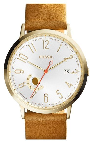 Free shipping and returns on Fossil 'Vintage Muse' Leather Strap Watch, 40mm at Nordstrom.com. A contemporary subdial displays the day of the week on a cool round watch stamped with Arabic numbers and finished with a smooth leather strap.
