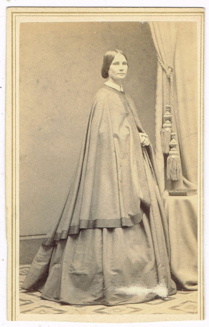 Standing Young Lady Long Dress Overcoat NYC New York by Bogardus 1860's CDV | eBay