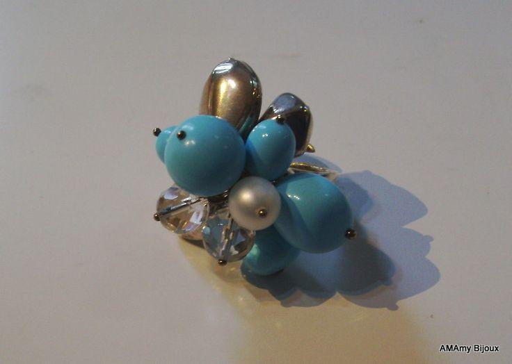 Anello in Argento , Turchese e perla di AMAmy Bijoux  su DaWanda.com