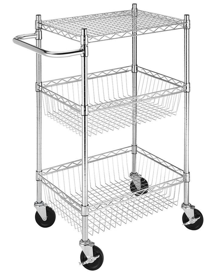 Whitmor Rolling 3-Tier Commercial Basket Cart - Chrome