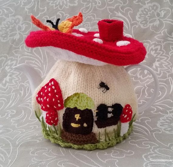 Quick & easy to make this 4-6-cup Tea Pot Cosy, called Faerie Mushroom Tea Cosy Pattern  Not only make it for yourself, but what a lovely birthday or