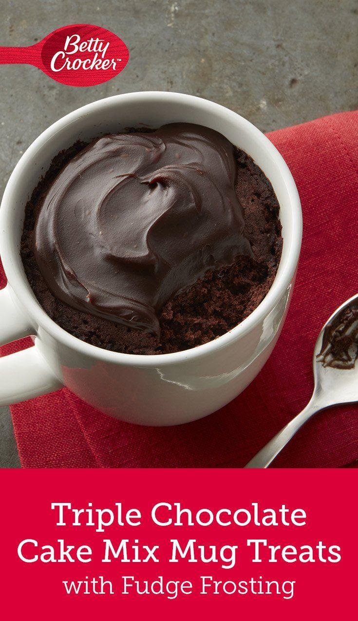 Betty Crocker Triple Chocolate Cake Mix Mug Treats With Fudge