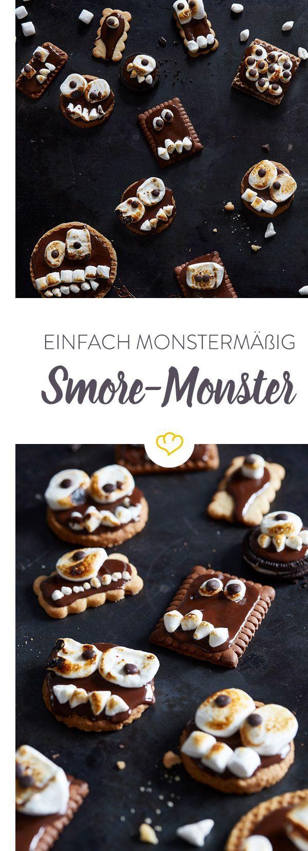 Keks-Monster mit Marshmallows | Rezept | Halloween kekse ...