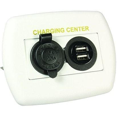 JR Products 15085 White 12V USB Charging Center