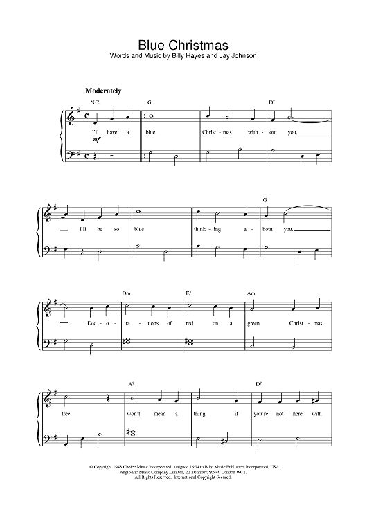 Blue Christmas (Easy Piano)   Easy piano, Blue christmas, Piano music