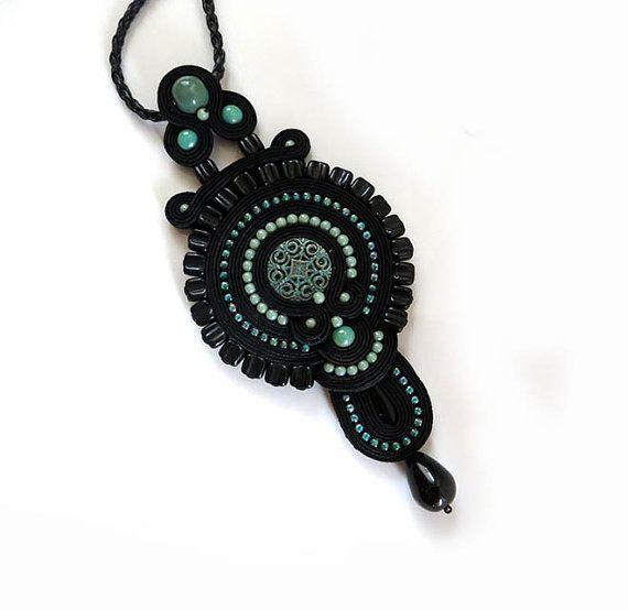Antique turquoise black necklace soutache OOAK by sutaszula