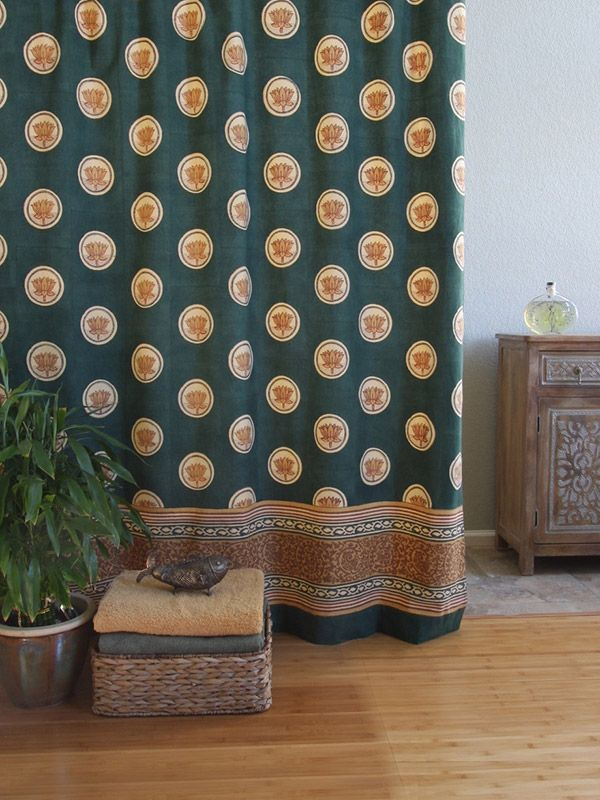 Floral lotus shower curtain, Green asian shower curtain, Asian shower curtain