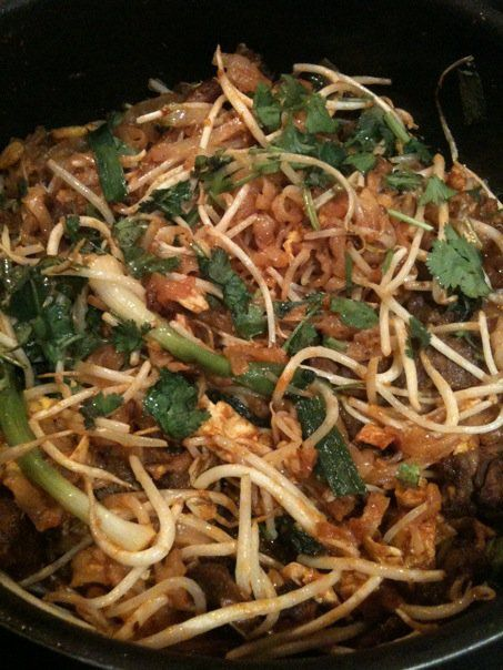 Pad Thai, my version. I make it a bit saucier than the restaurants, because rice noodles can be bland otherwise. An all round great dish with the richness of peanut butter, the crunch of bean sprouts, the chewiness of the noodles, and the umami from seasonings.
