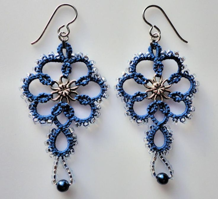 Blue tatted earrings, tatting, frivolite project on Craftsy.com Design by Marilee Rockley