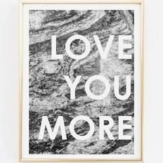 Love You More Art Print / Marble Decor / Contemporary ...