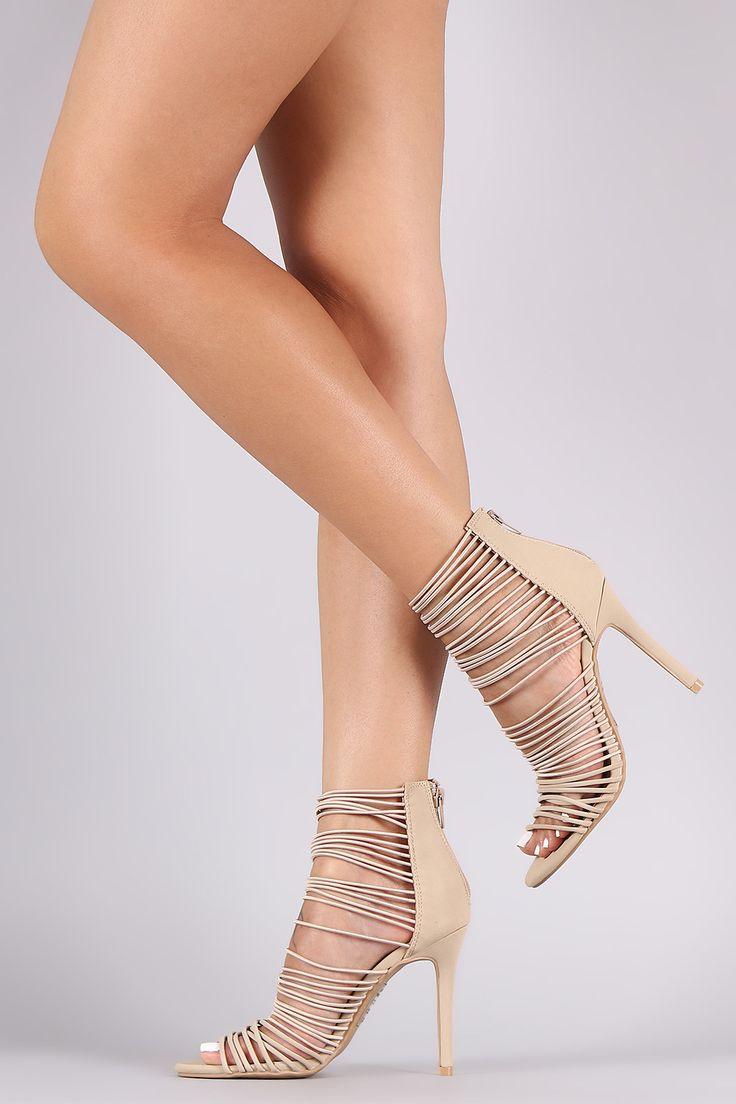 Black Strappy Elastic Straps Detailing Open Toe Single Sole High Heels Suede HBZLP1p6
