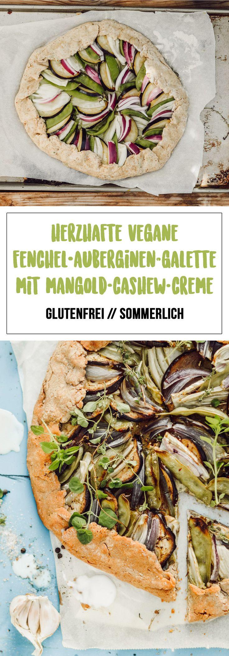 Herzhafte Fenchel-Auberginen-Galette mit Mangold-Cashew-Creme [glutenfrei, vegan]