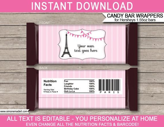Paris Theme Party  Candy Bar Wrappers  Party by SIMONEmadeit