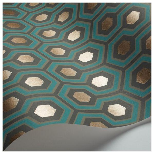 Papier peint - Cole and Son - Hicks' Hexagon - Vert et Or