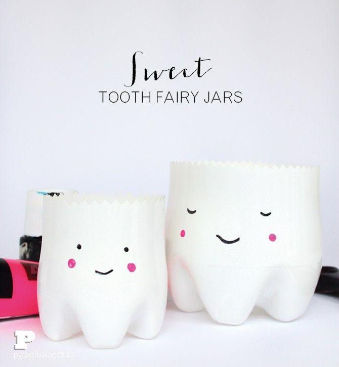 Återbruka pet-flaskor Underlätta för tandfen genom att återbruka dina PET-flaskor och pyssla ihop söta burkar som liknar tänder! Pysslet är rätt simpelt och även barnen kan vara med och pyssla ihop…