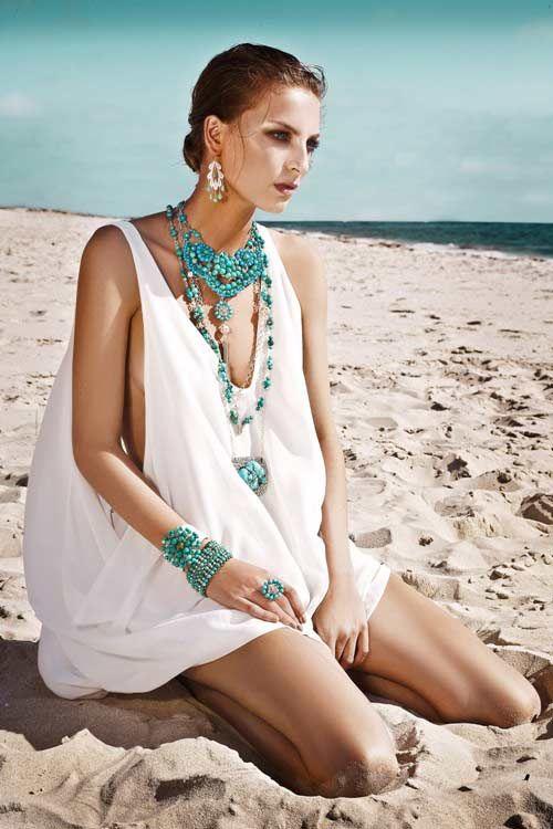 Turquoise - beach wear.