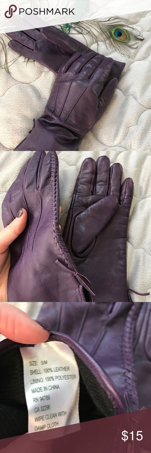 Black leather gloves with red buttons - Purple Leather Gloves These Elegant Gloves Are Practically Brand New 100 Leather Lined With