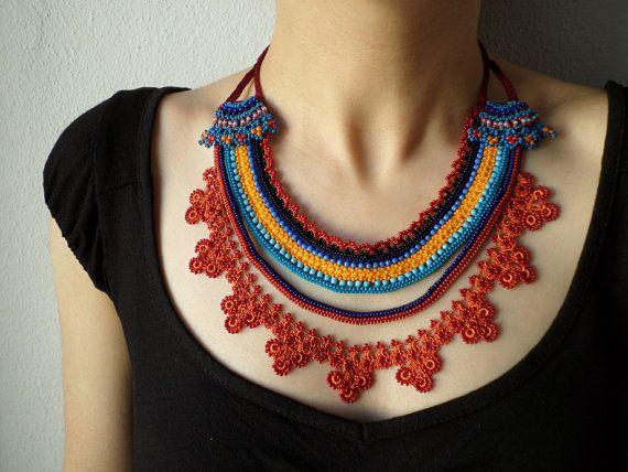 Collana di perline pizzo - maglia con perline blu arancione e turchese, Bordeaux, alzavola