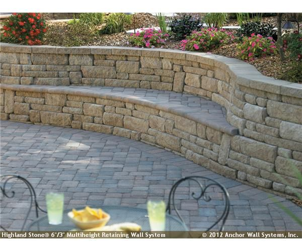 Cool bench in retaining wall.                                                                                                                                                      More