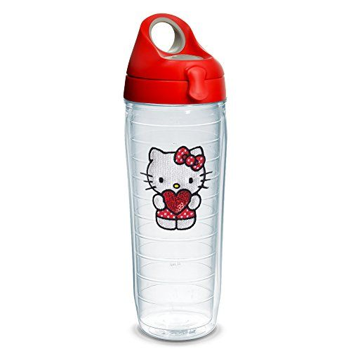 Tervis Hello Kitty - Kitty Love Sequins 24oz Clear Water Bottle with Red with Gray Lid //Price: $ & FREE Shipping //     #fan World of Hello Kitty https://worldofhellokitty.com/product/tervis-hello-kitty-kitty-love-sequins-24oz-clear-water-bottle-with-red-with-gray-lid/