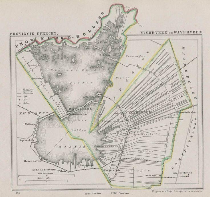 Kaart van Vinkeveen en Waverveen uit de gemeenteatlas van Utrecht, uitgegeven door Hugo Suringar te Leeuwarden (1865). Kaart gemaakt door Jacob Kuyper.