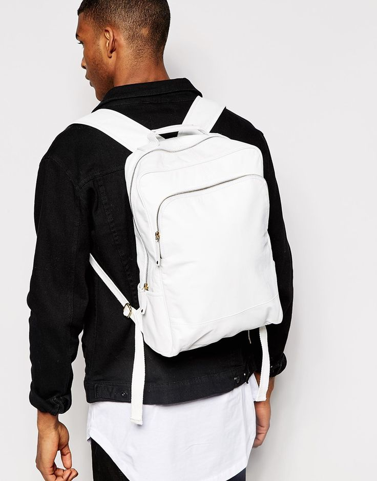 Image 3 ofASOS Smart Leather Backpack In White